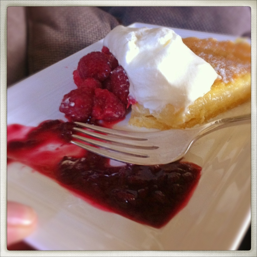 Another favourite - lemon tart with raspberry coolis...melt!